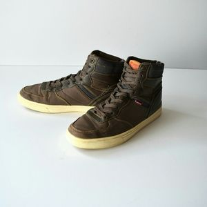 Levi High Top Shoes Denim, Brown Leather &  Canvas